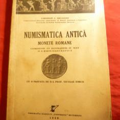 C.C.Secasanu - Numismatica Antica - Monede Romane 1946, dedicatie si autograf