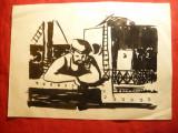Pictura-Tus  -Marinar pe puntea vasului ,nesemnat , dim.= 29,3 x21 cm