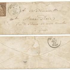 RFL 1860 Elvetia plic clasic cu timbru de 5 rappen trimis din Bernex