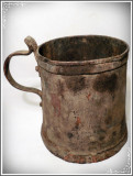 MĂSURĂ / OCA DIN TABLĂ GROASĂ DE CUPRU, PATINĂ SUPERBĂ, CAP.  1 LIT, VECHE 1800!