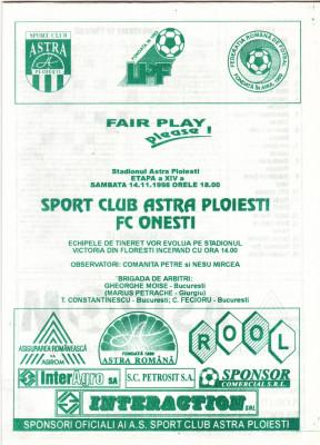 Program meci fotbal ASTRA Ploiesti - FC ONESTI 14.11.1998 foto
