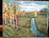 Peisaj -Pe malul râului, Peisaje, Ulei, Realism