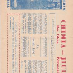 Program meci fotbal CHIMIA RM. VILCEA - JIUL PETROSANI (25.09.1988)