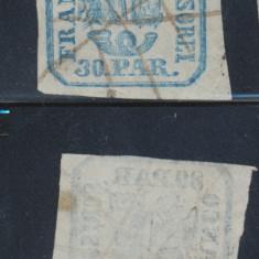 RFL 1862 Principatele Unite tipar de mana timbru 30 parale anulat manual - Timbre Romania, Stampilat