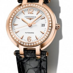 Ceas dama LONGINES PRIMA LUNA: aur+diamante(cadou ideal logodna, aniversari etc.), Piele, Analog