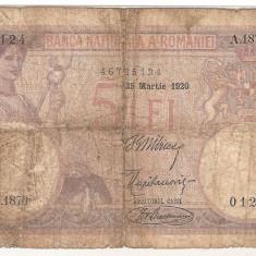 ROMANIA 5 LEI 1920 U - Bancnota romaneasca