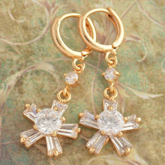 Cercei dublu placat aur 18K cu cristale zirconiu 20159 - Cercei placati cu aur