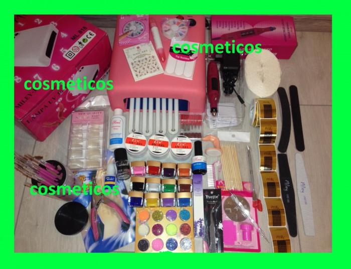 Kit unghii false gel set manichiura -freza,lampa,geluri colorate,tipsuri - BEST