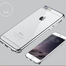 IPhone 6 6s Husa Ultra Slim Silicon Gel Transparenta Bumper Silver - Husa Telefon Apple