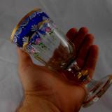 ANTIC PAHAR BOHEMIA ANII 1800 STICLA PAHAR CU PICIOR CUPA PICTATA MANUAL