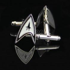 Butoni camasa model STAR TREK argintii cu negru + cutie simpla cadou