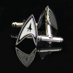 Butoni camasa model STAR TREK argintii cu negru + ambalaj cadou