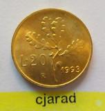 Moneda 20 Lire - Italia 1993 *cod 1222 UNC, Europa