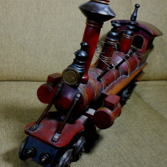 LOCOMOTIVA TREN MACHETA ANII 1850- 1970 MARE 66CM GREA 5KG LEMN SI ALMA BIBELOU, 1:12, N, Locomotive