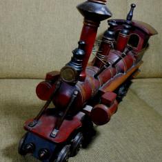 LOCOMOTIVA TREN MACHETA ANII 1850- 1970 MARE 66CM GREA 5KG LEMN SI ALMA BIBELOU - Macheta Feroviara, 1:12, N, Locomotive