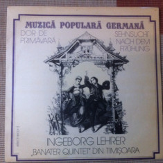 Banater Quintet Timisoara ingeborg lehrer Muzica Populara electrecord germana lp disc vinyl, VINIL