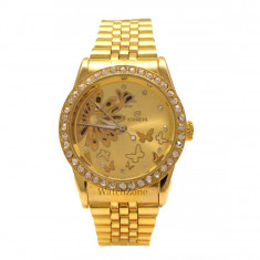 Ceas dama Automatic GOER Butterfly Gold Edition CEL MAI MIC PRET Grantat, Mecanic-Automatic, Otel, Analog