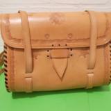 Impresionanta POSETA / GEANTA din PIELE NATURALA groasa LUCRATA MANUAL - Geanta handmade