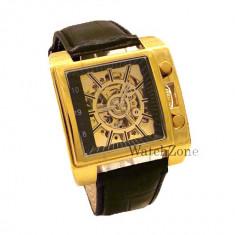 Ceas ORIGINAL automatic Goer Square GR107G ceas barbatesc cadou ideal, Quartz, Piele ecologica, Analog