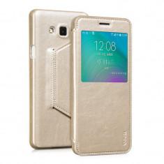 Husa piele HOCO SAMSUNG GALAXY A7 cu S view, SMART COVER, activa, GOLD / AURIU - Husa Telefon