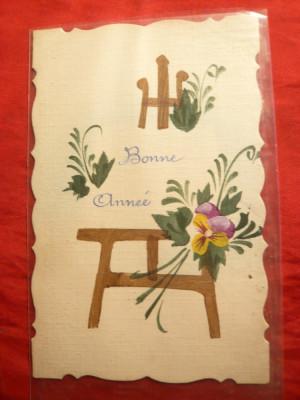 Ilustrata pictata manual -Felicitare de Craciun 1923 Bonne Annee ! foto