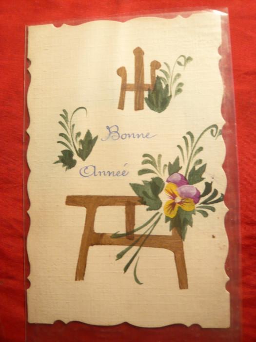 Ilustrata pictata manual -Felicitare de Craciun 1923 Bonne Annee !