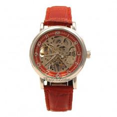 Ceas ORIGINAL mecanic GOER - Skeleton RED WZ097R ceas barbatesc cadou ideal, Mecanic-Manual, Piele ecologica, Analog