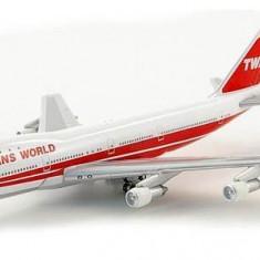 Macheta avion Boeing 747-100 - TWA SCHUKO scara 1:500 - Macheta Aeromodel