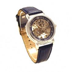 Ceas mecanic GOER - Skeleton Blue WZ117R ceas barbatesc, Mecanic-Manual, Piele ecologica, Analog