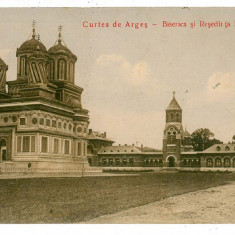 489 - CURTEA de ARGES, Biserica si Resedinta Regala - old postcard - used - 1910 - Carte Postala Muntenia 1904-1918, Circulata, Printata