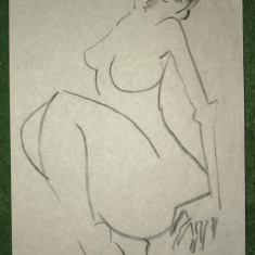 Schita Constantin Piliuta - Cu Expertiza - schita 6 - Pictor roman, Nud, Carbune, Altul