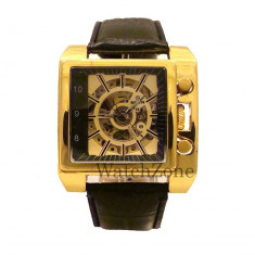 REDUCERE - Ceas barbatesc automatic Goer - Square GOLD, Casual, Mecanic-Automatic, Piele ecologica, Analog, Nou