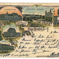 3050 - L i t h o, ORADEA - old postcard - used - 1898 - Carte Postala Crisana pana la 1904, Circulata, Printata