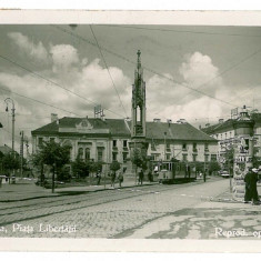 1424 - TIMISOARA, Libertatii Market - old postcard, real PHOTO - used - 1938 - Carte Postala Banat dupa 1918, Circulata, Fotografie