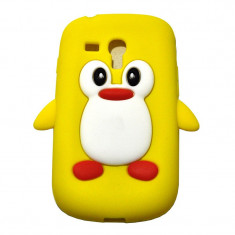 Husa silicon model pinguin galben Samsung Galaxy S3 Mini i8190 + folie