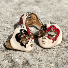 Inel masca venetiana cu cristale, Marime: Alta