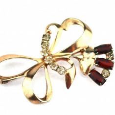 Brosa argint placata aur, decorata cristale Bohemia, inspiratie Belle Epoque