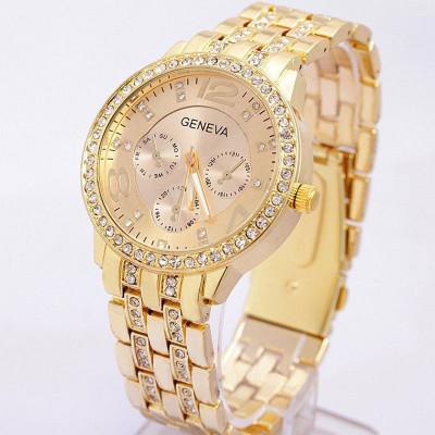 Ceas dama GENEVA auriu gold bratara metalica cristale superb+cutie simpla cadou foto