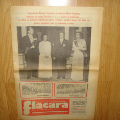 ZIAR DE COLECTIE FLACARA VIZITA SOTILOR CEAUSESCU IN MAREA BRITANIE ANUL 1978