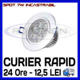 SPOT LED INCASTRABIL - 7W EPISTAR - ECHIVALENT 55W - ALB RECE SAU CALD, Becuri LED, Rece (4100 - 4999 K), ZDM