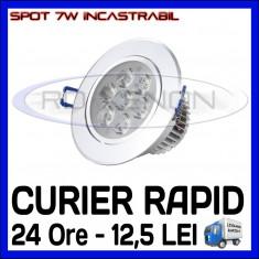 SPOT LED INCASTRABIL - 7W EPISTAR - ECHIVALENT 55W - ALB RECE SAU CALD - Bec ZDM, Spoturi
