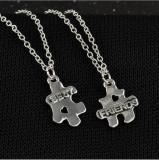 Pandantiv / Colier / Lantisor - BFF - Best Friends - Puzzle Style - 2 Bucati