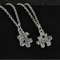 Pandantiv / Colier / Lantisor - BFF - Best Friends - Puzzle Style - 2 Bucati - Pandantiv fashion