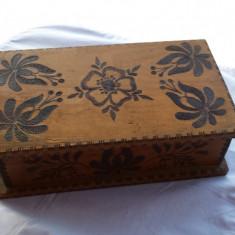 Veche Cutie lemn pastrat corespondenta sau bijuterii 1920 Vintage pirogravata - Cutie Bijuterii