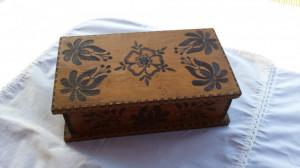 Veche Cutie lemn pastrat corespondenta sau bijuterii 1920 Vintage pirogravata