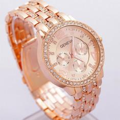 Ceas dama tip GENEVA auriu rose bratara metalica cristale superb+cutie cadou, Elegant, Quartz, Metal necunoscut, Analog, Nou