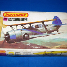 Macheta avion biplan Curtiss SBC-4 Model Kit by MATCHBOX (Original!!!) - Macheta Aeromodel Matchbox, 1:72