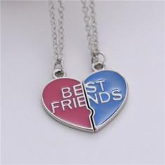 Pandantiv / Colier / Lantisor - BFF / BF - Best Friends - Inima din 2 Culori - Pandantiv fashion