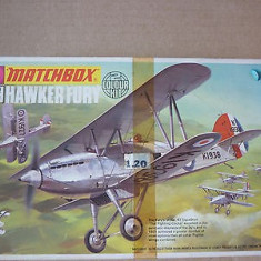 Macheta avion biplan Hawker Fury Fighter Model Kit by MATCHBOX (Original!!!) - Macheta Aeromodel Matchbox, 1:72