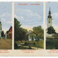 66 - Timis, CARANSEBES, Cathedral, Church, Episcopal garden - old postcard used - Carte Postala Banat 1904-1918, Circulata, Printata